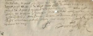1565 Gothic manuscript document parchment DAMAGED medieval signature ORIGINAL