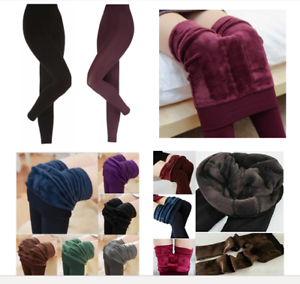 Ladies-Thick-Winter-Thermal-Leggings-Fleece-Lined-Warm-High-Waist-Tummy-Control