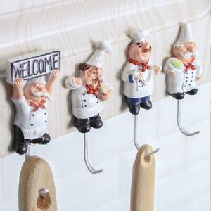 Kitchen-Cartoon-Chef-Hook-Resin-Powerful-Adhesive-Hanger-Wall-Storage-Rack-New