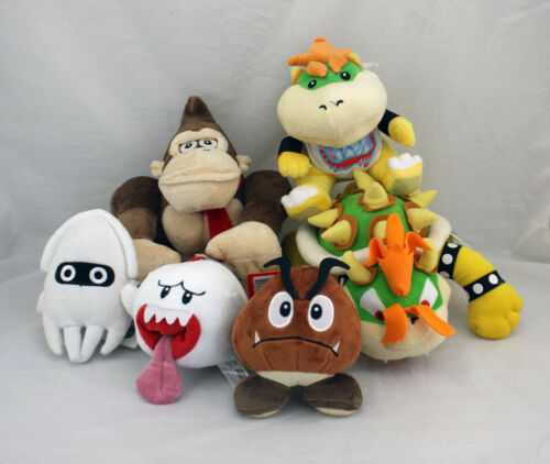 Set of 6 Super Mario Bowser Jr. Koopa Donkey Blooper Boo Ghost Goomba Plush Toy