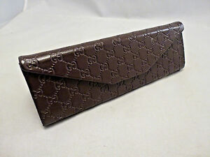 info for efdaa a9cd0 Details about Authentic GUCCI Brown Leather Folding Sunglasses Eyeglasses  Case