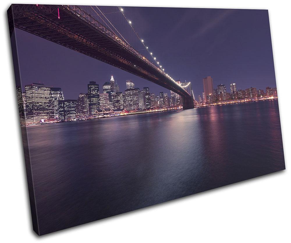 Brooklyn Brooklyn Brooklyn Bridge New York Night City SINGLE TELA parete arte foto stampa 784a0c
