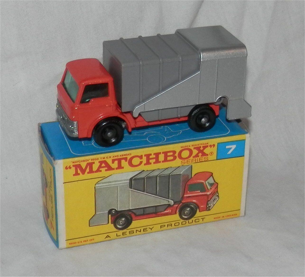 1960s. Lesney Matchbox .7, Ford rechazar. camión. basura. Trash. Menta en caja; Original