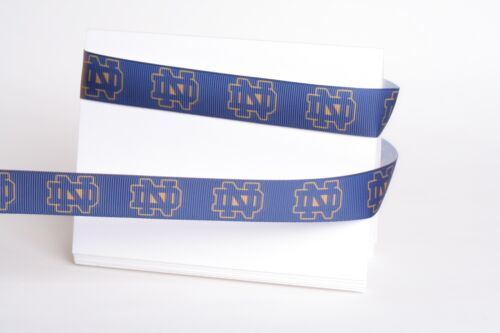 "NOTRE DAME FIGHTING IRISH 7//8/"" GROSGRAIN RIBBON 1,3,5,10 YARDS SHIP FROM USA"