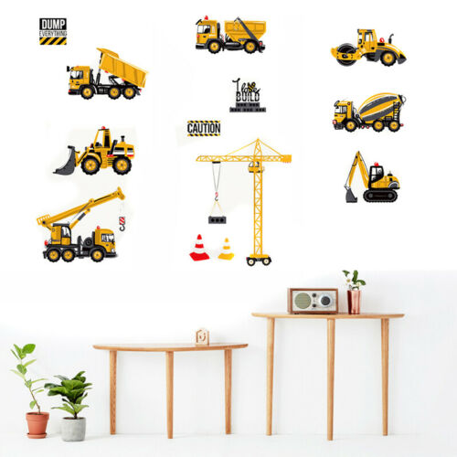 Cartoon Excavator Construction Wall Decals Baby Boy Nursery Kids Room Stickers
