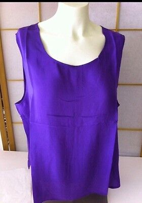 NEW 2X 100% SILK Maurada PURPLE Sleeveless silky Tank Top Shell ladies casual