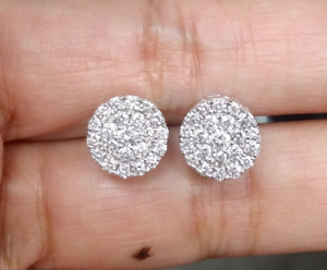 Deal-1-05-CT-Natural-Diamond-Cluster-Halo-Stud-Earrings-14K-White-Gold-9-5-MM