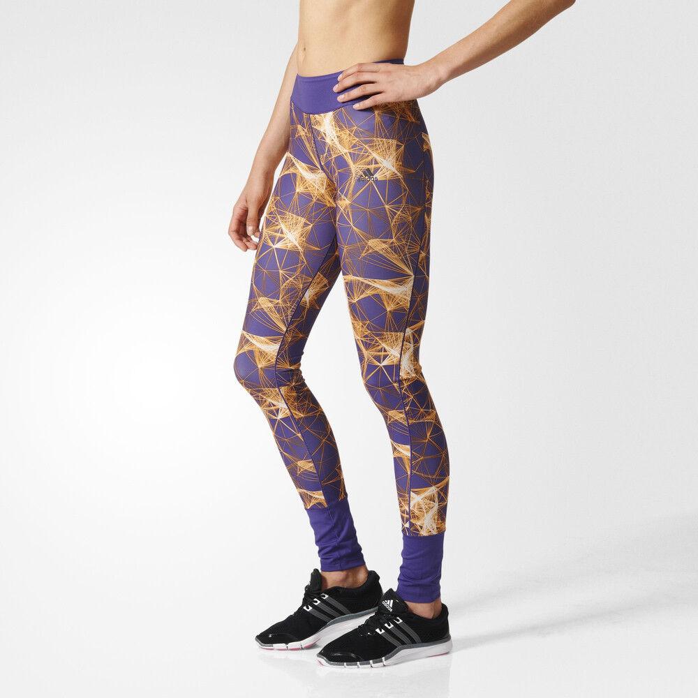 Adidas Super Womens Purple Climalite - Lange Laufhose für den Sport - Größe XS & amp;S