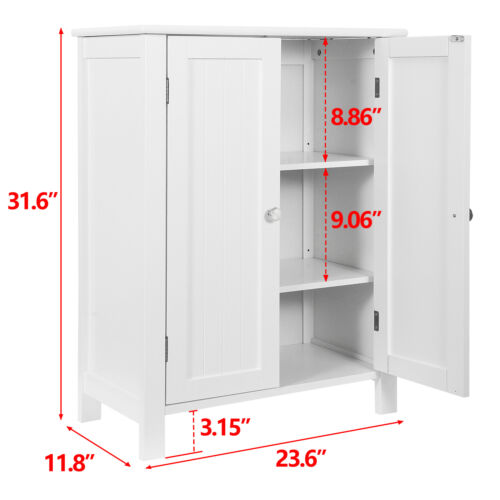 White Wooden Bathroom Floor Cabinet Storage Cupboard 3 Shelves Free Standing