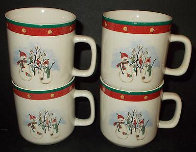 Royal Seasons Stoneware Snowmen NEW 4 Mugs Coffee Cups Holiday Winter 4a24m