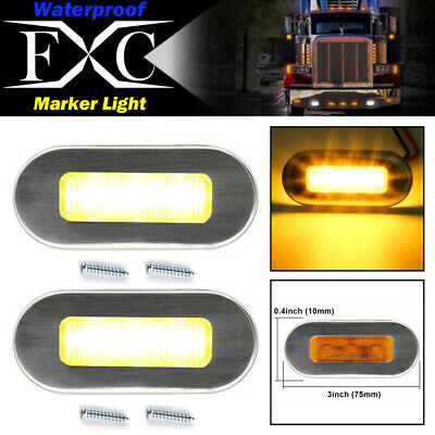 3.7 Oval Bar Style LED Lights Chrome Side//Rear Marker Clearance Truck Trailer Boat CAB RV Amber//Red Lens Chrome Bezel 4 LEDs IP 67 Submersible Waterproof Red, 10