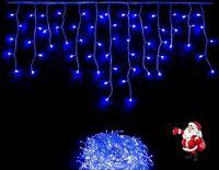 300 LED Eisregen Eiszapfen Lichterkette für Außen Weihnachten blau IP44