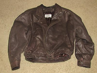 Retro Men's Pelle Studio 1980 Brown Leather Jacket Sz M Shoulder Pads Paisley