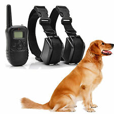 Dog E-Collar Anti-Bark Rechargeable Electric Shock Training Remote Control For 2