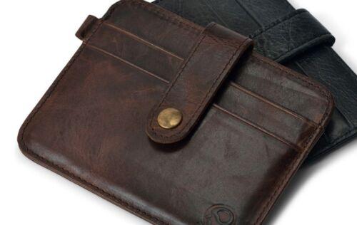 Ultra Mince 100/% Cuir véritable carte de crédit titulaire mini étui portefeuille sac à main