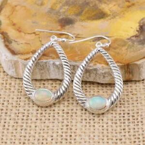 Ethiopian-Welo-Opal-925-Sterling-Silver-Large-Hoop-Drop-Earrings-Jewellery-N2
