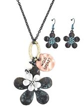 """HIPPY PATINA TURQUOISE BLUE COPPER FLOWER WILD SPIRIT NECKLACE EARRINGS 27""""-30"""""""
