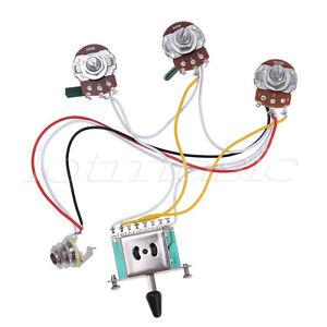 electric guitar wiring harness prewired kit for strat parts 5 way 500k pots 2t1v 634458683647 ebay. Black Bedroom Furniture Sets. Home Design Ideas