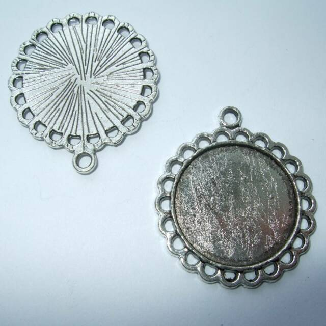 ROUND ANTIQUE SILVER BRONZE GOLD CAMEO CABOCHON PENDANT SETTING TRAY 20mm C13