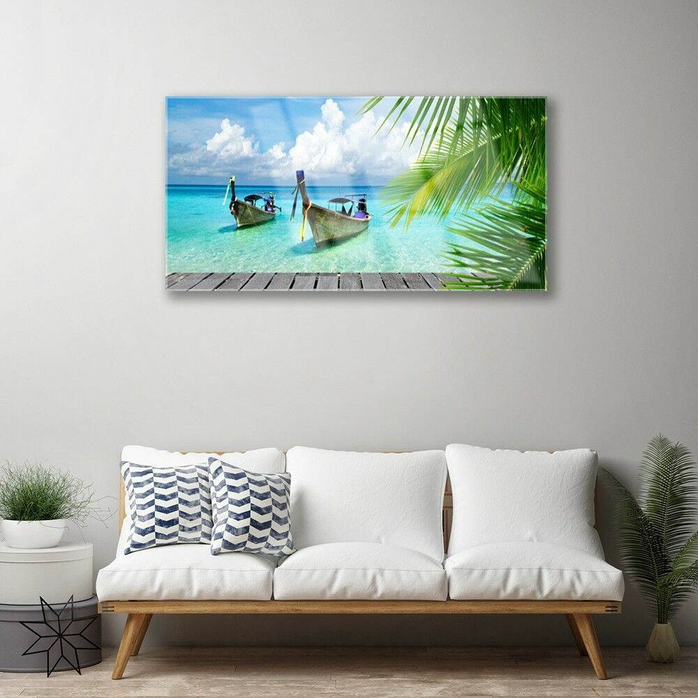 Print on Glass Wall art art art 100x50 Picture Image Boats Sea Landscape 5a15e5