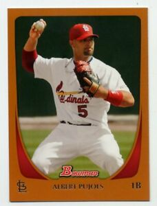 2011-Bowman-ALBERT-PUJOLS-Rare-ORANGE-BORDER-PARALLEL-250-St-Louis-Cardinals