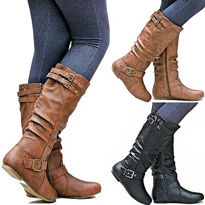 New Women T76N Tan Black Buckle Mid-Calf Riding Boots size 6 to 10