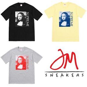 47ef28616ea5 SUPREME Mona Lisa Tee Black Heather Grey Pale Yellow M box logo camp ...