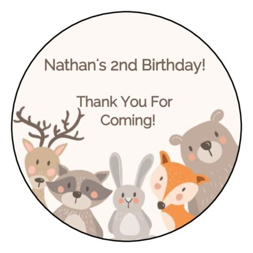 """12 Personalized Woodland Animals Birthday Party Stickers Favors Labels 2.5/"""""""