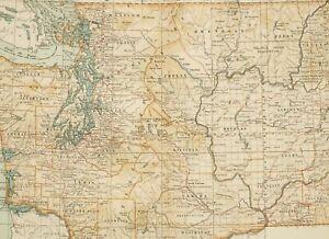 1903 Antik Karte Washington Jefferson Colville Indisch Reservation