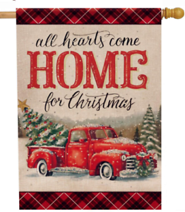 Selmad Christmas 28 X 40 House Flag Farm Red Truck Double Sided Xmas Pickup Rus 313098479482 Ebay