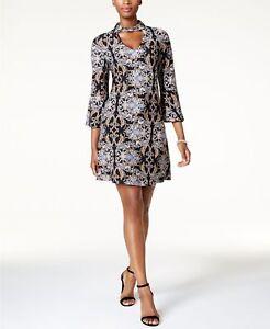 Details about Jessica Howard Plus Size Printed Mock-Neck Dress BLACK MULTI