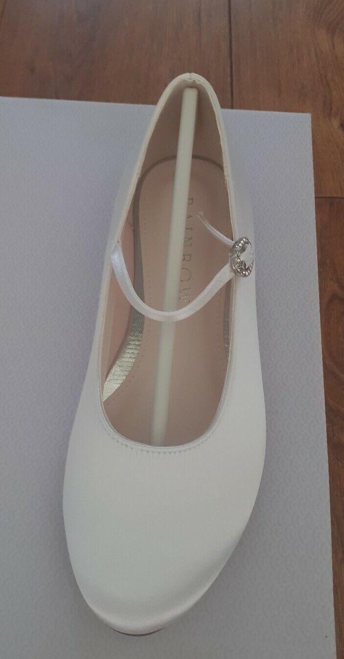 Rainbow Club White Satin Mary Jane Communion Bridesmaid Shoes Size 13 New In Box