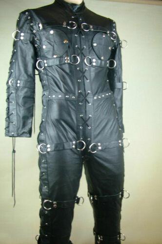 Mens Bondage Suit Black LEATHER Heavy Duty Restriction Catsuit LARP