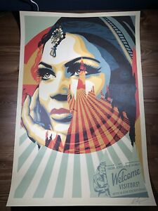 Shepard Fairey Obey Giant Target Exceptions Art Print Poster Signed 24 X 36 Fire