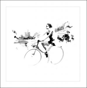 Blank Greeting Card Embossed Free Spirit Lady on a Bike