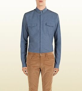 Gucci-Runway-DUKE-Military-Army-Button-Down-Chambray-Shirt-38-15-Made-in-Italy