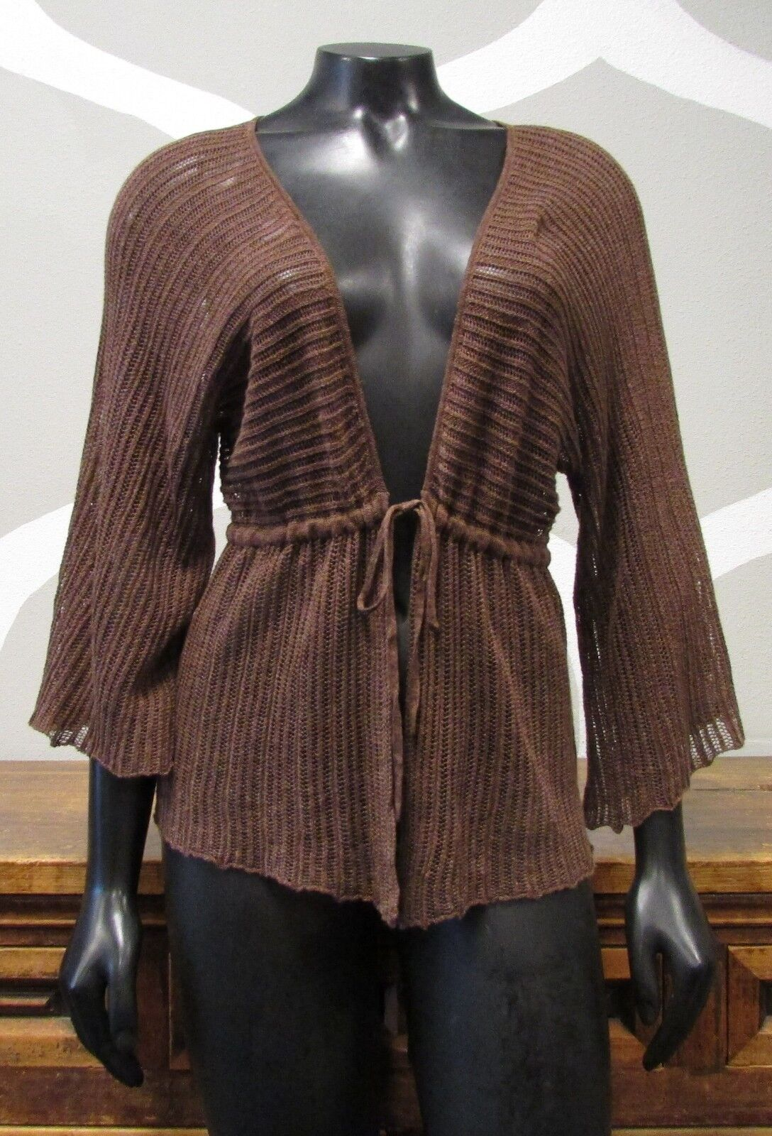 NIC + ZOE Brown Linen Knit Belted Cardigan Sweater - PP