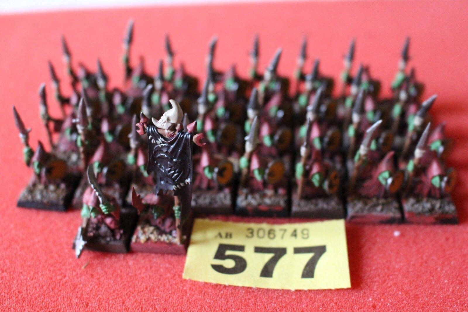 Games Workshop Warhammer Night Goblins Spearmen Warriors Spears Regiment Command
