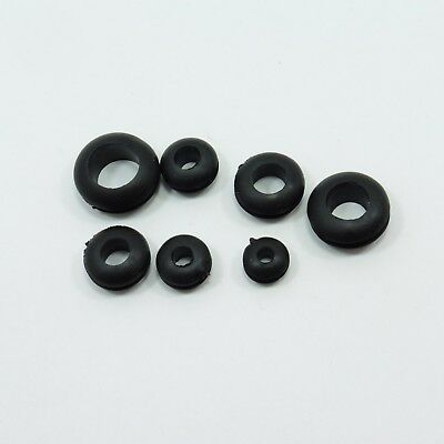 BLACK 3mm Hole Rubber Grommet Double Sided Open Gasket Wiring Cable Cord Ring