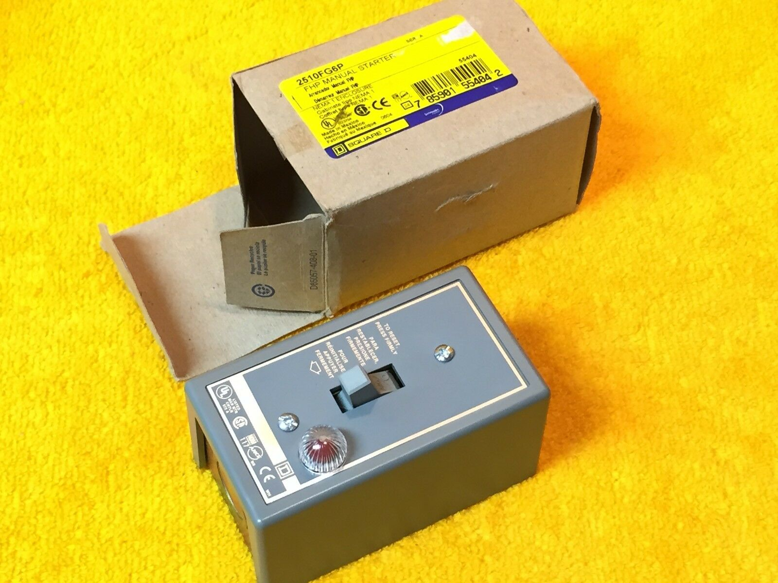 NEW SQUARE D MANUAL STARTER CLASS 2510FG6P  WITH ENCLOSURE 2510 FG6P