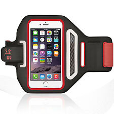 """iPhone 6/6S Plus 5.5"""" Red Lycra Armband Running Reflective CreditCard Holder"""