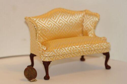 Dollhouse Miniature Upholstered Gold Geometric Damask Sofa w// Ball /& Claw Feet