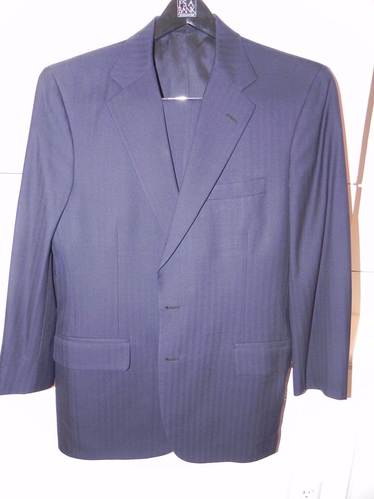 Tom James Custom Bespoke Suit Navy Blau Blau Wool  Herringbone 40 R