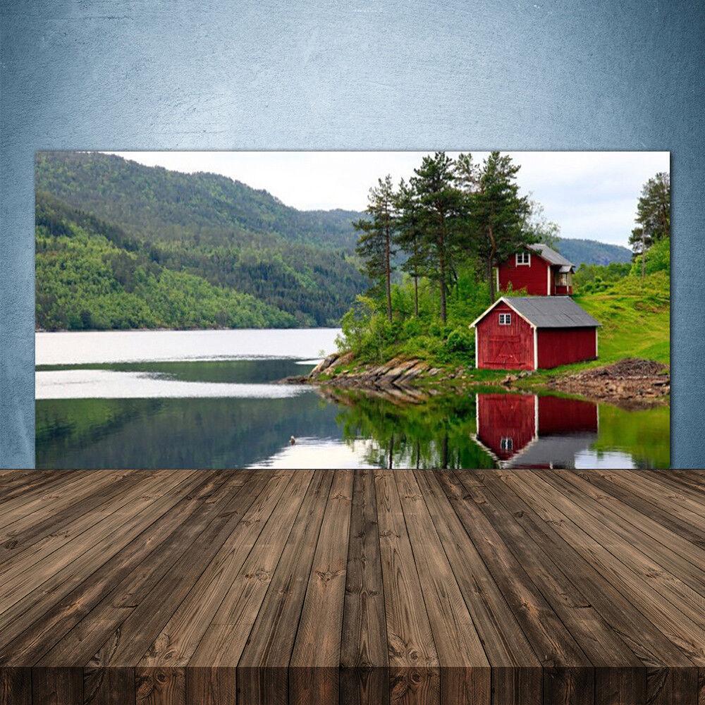 Crédence de cuisine en verre Panneau 140x70 Paysage Montagne Arbres Lac