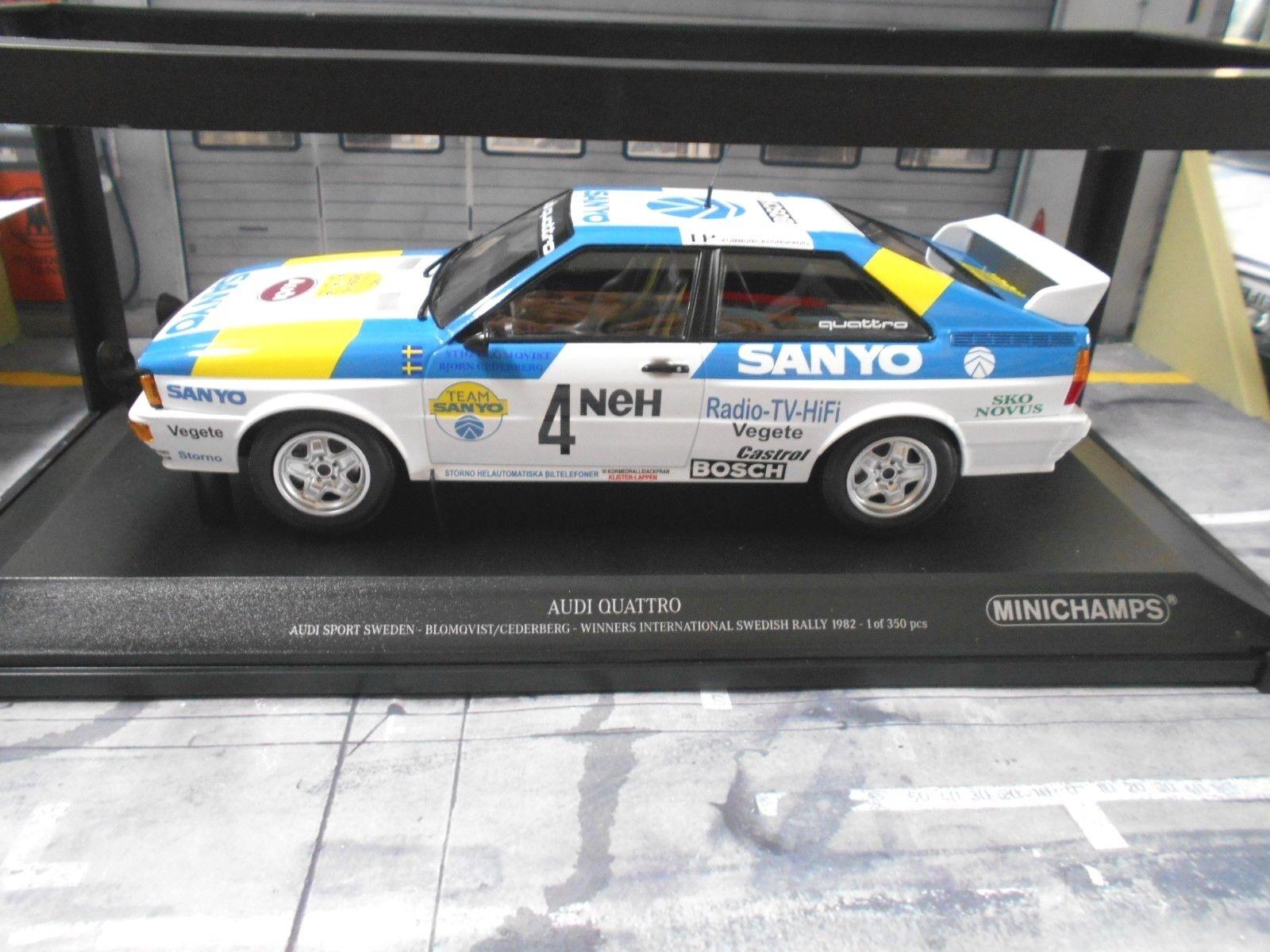 AUDI QUATTRO RALLYE taille taille taille 4 Suède 1982 Win  4 Blomqvist SANYO MINICHAMPS 1 18 641269