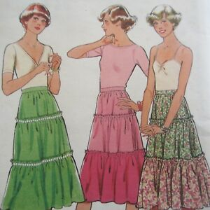 Unused-Vintage-1970s-Sewing-Pattern-Style-Teen-Tiered-Skirt-size-14-As-New