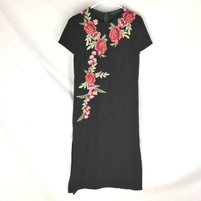 NEW Zara Woman Black Midi Dress Size Small Floral Embroidered Womens NWT