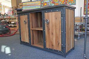 Sideboard-Industriedesign-Anrichte-Fernsehschrank-Kommode-Eiche-Stahl