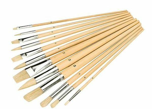 Artists Paint Brush Set 12pce  Mixed Tips. Modelling Crafts