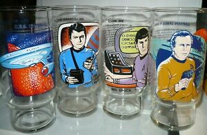 Complete-Set-of-4-Star-Trek-Dr-Pepper-Glasses-Kirk-Spock-McCoy-amp-Enterprise-1978